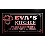 ps140-r Eva's Personalized Welcome Kitchen Bar Wine Neon Light Sign