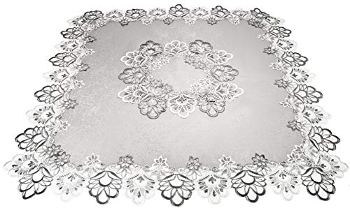 Linens, Art and Things Silver European Lace with Antique Jacquard Fabric Table Topper Small Tablecloth 34 Square Inch