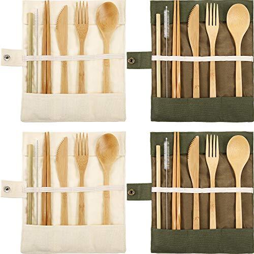 Tatuo 4 Set Bamboo Utensils Flatware Bamboo Travel Cutlery Set Reusable Bamboo Fork Spoon Knife Chopsticks Straws Metal Brush (Color A)
