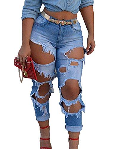 Mujeres Cortado Talle Pantalones Jeans Alto Rasgado Agujero Lavados Estilo Boyfriend Zarco Vaqueros rZO6qXr