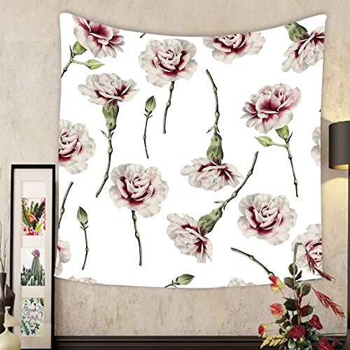 Grace Little Custom tapestry seamless floral pattern with carnations watercolor ()