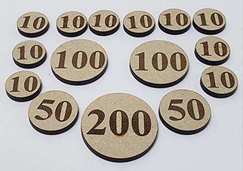 (Legacy Cards Wooden Engraved Custom Damage Counters Markers Tokens Set)