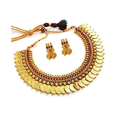 YouBella Jewellery Gold Plated Traditional Indian Temple Coin Necklace Set with Earrings for Girls and Women (Red)
