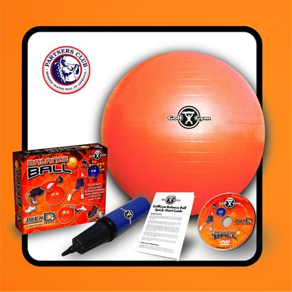 GolfGym Balance/Fitness Ball w/Pump & DVD - 55cm