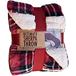 Life Comfort Ultimate Sherpa Throw, Red Plaid - 60 by 70 inches