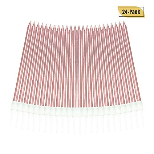 : Aplusplanet 24 Count Pink Birthday Candles, Metallic Long Thin Pink Cake Candles in Holders for Cupcake Wedding Cake Birthday Cake Party Cake Decorations