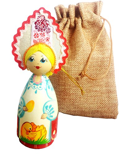 [Ethnic Doll in Traditional Folk Costume - Hand-painted Russian-made Hanging Ornament - Vintage Wooden Doll in a Jute Sack - Folk Art - 6