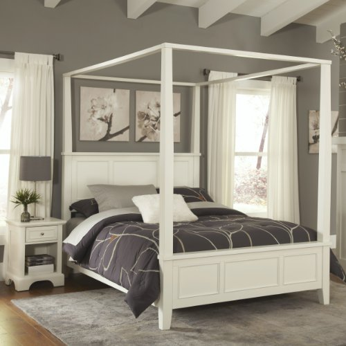 Home Styles Naples White King Canopy Bed and Night Stand - Contemporary Set Canopy Bed