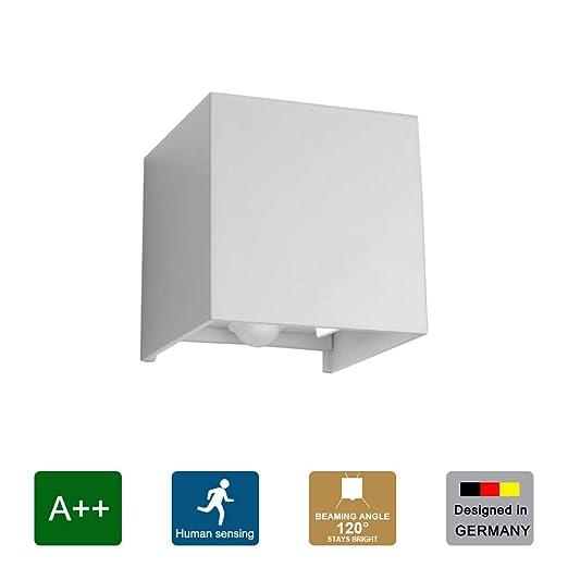 Klighten Aplique LED con detector de movimiento, aplique interior 12W, lámpara de pared con