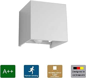 Klighten Aplique LED con detector de movimiento, aplique interior 12W, lámpara de pared con sensor para exterior IP65, blanco natural, blanco: Amazon.es: Iluminación