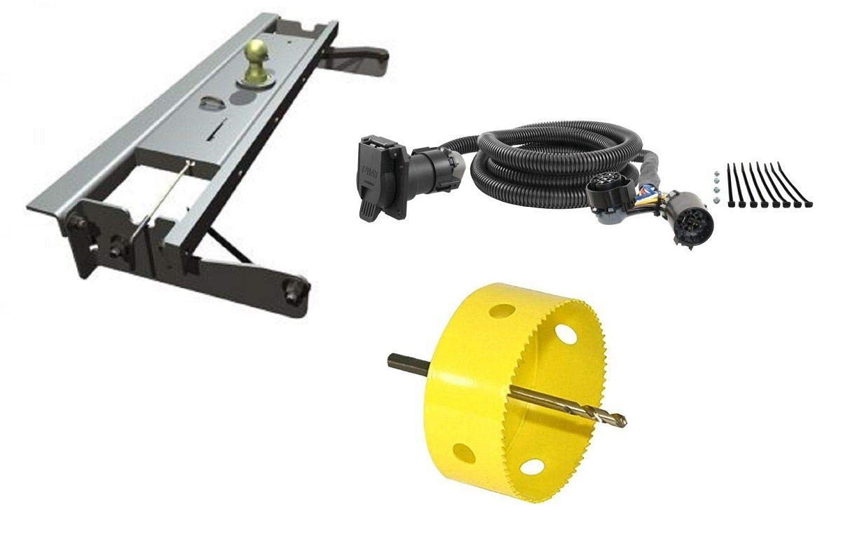 B&W Hitches GNRK1012 Turnoverball Gooseneck Hitch Kit w/ 4'' Hole Saw Drill Bit & 7' Wiring Harness Extension for Chevrolet/GMC Trucks