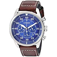 Citizen Men's Avion Stainless Steel Quartz Leather Calfskin Strap, Brown, 21.7 Casual Watch (Model: CA4210-41M)