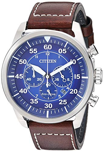 Citizen Men's Avion Stainless Steel Quartz Leather Calfskin Strap, Brown, 21.7 Casual Watch (Model: CA4210-41M