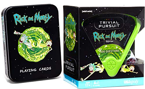 Galactic Cards Rick and Morty Character Games - 600 Trivia Questions & Deck of Playing Cards in Tin 2 Pack Item Bundle