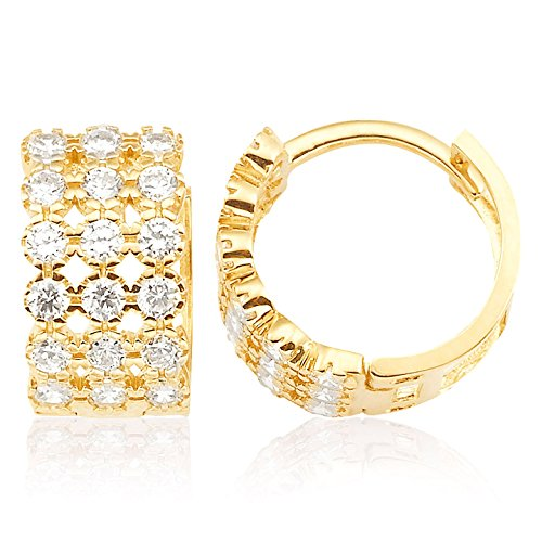 14K Yellow Gold Three Rows CZ Huggie Earrings for Women and Girls by Jewel Connection