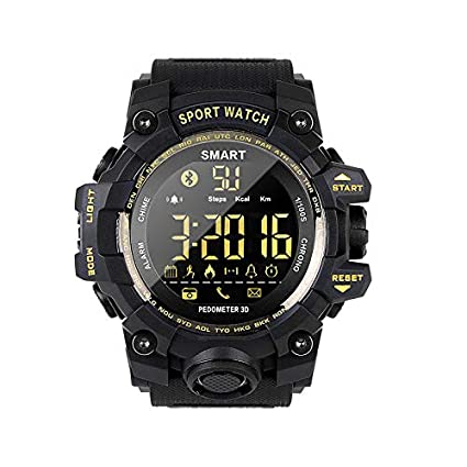 Smart Watch Pedometer Fitness Rugged IP67 Waterproof and Shock Resistant Durable and Replaceable CR2032 Battery Remote Camera Incoming Call or Message ...