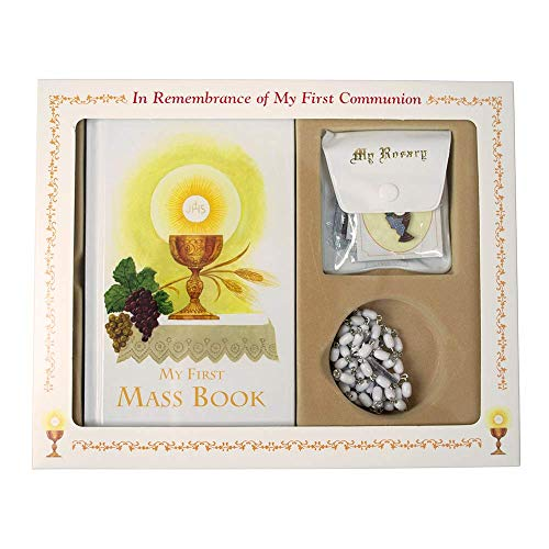 First Communion Remembrance Kit | Boys and Girls First Communion Bundle | Black or White | Comes with Communion Book, Rosary, Pouch, Scapular and Pin | Christian Home Goods (White)