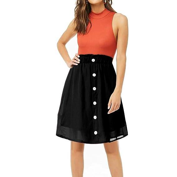 Falda Midi para Mujer, Faldas Vintage con Cintura elástica y ...