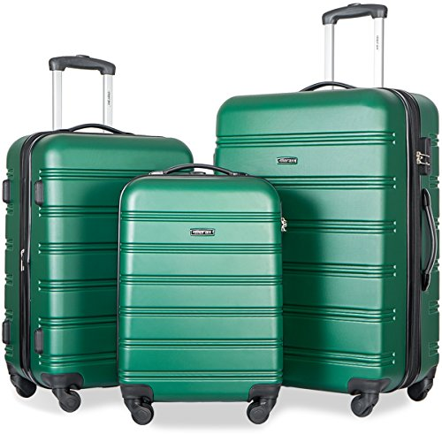 Merax Travelhouse Luggage 3 Piece Expandable Spinner Set - Spinner Green