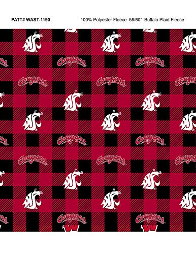 - Washington State University Fleece Blanket Fabric-Washington State Cougars Fleece Fabric with Buffalo Plaid Design