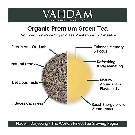 VAHDAM, Himalayan Green Tea Leaves (50+ Cups) I 100% NATURAL Green Tea I POWERFUL ANTIOXIDANTS I Best for Detox I… 9 SATISFACTION GUARANTEED - 100% MONEYBACK GUARANTEE - If you don't like the tea, we will issue a 100% REFUND immediately. No Questions Asked.