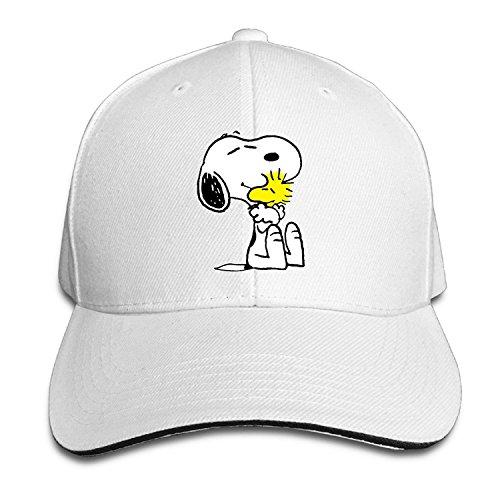 Unisex Snoopy Peanut Adjustable Snapback Baseball Cap White One Size ()