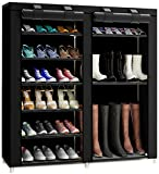 TXT&BAZ 27-Pairs Portable Boot Rack Double Row Shoe Rack Covered with Nonwoven Fabric(7-Tiers Black
