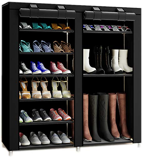 TXT&BAZ 27-Pairs Portable Boot Rack Double Row Shoe Rack Covered with Nonwoven Fabric(7-Tiers Black) (Double Shoe Cabinet)