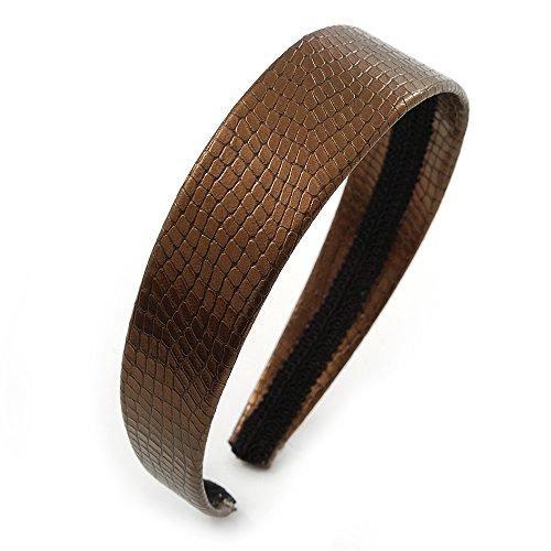 Wide Bronze Metallic Snake Print Leather Style