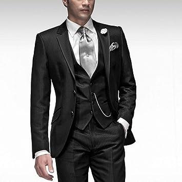 GFRBJK Black Gentleman Dating Slim para Hombre Traje de Tres ...