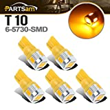Partsam 5x T10 6-5730-SMD Amber Led Bulb Exact Fit Cab Roof Top Light Marker Running Lamp