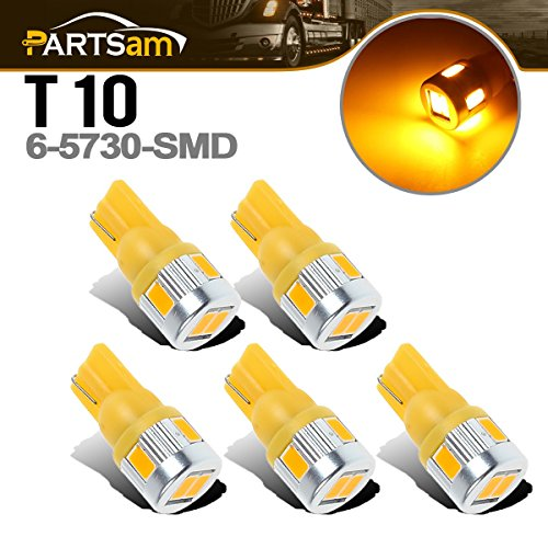 Partsam 5pcs Super Bright T10 194 168 6-5730-SMD Amber Yellow LED Bulbs Compatible with Ford/Dodge/Chevrolet/GMC Cab Marker Roof Running Top Light Lamp 12V