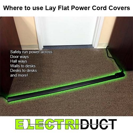 Flat Electrical Power Extension Cord Cover Length 10ft