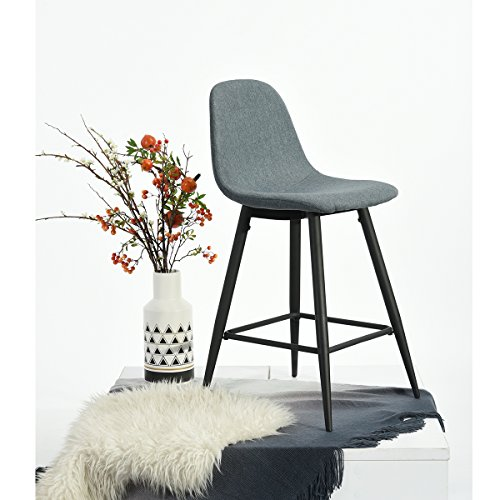 Set of 2 Mid-Century Style Counter Height Barstool Metal Legs Blue Fabric Cushion Seat and Back for Dining Room Bar Pub Chairs by eHomeProducts