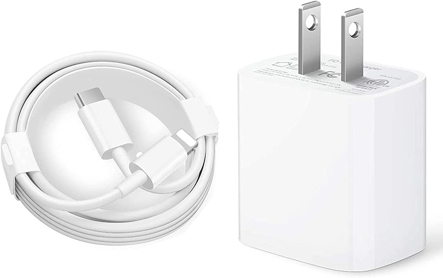 iPhone Fast Charger, 20W PD Type C Power Adapter Wall Charger [Apple MFi Certified] Travel Plug with 3FT USB C to Lightning Quick Charge Sync Cable Compatible with iPhone 12/11/XS/XR/X 8/SE 2020, iPad