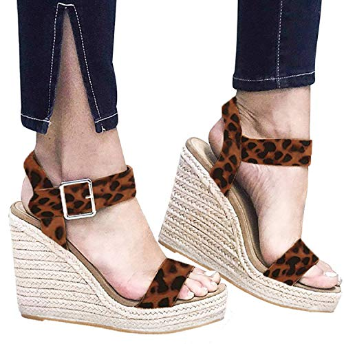 - XMWEALTHY Women's Wedge Sandals Casual Sandals Shoes Summer Ankle Buckle Open Toe Wedges Heels Size 6 Leopard