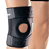 "IPOW(TM) up to 16"" perforated cloth Enhanced Professional Four Spring Elastic Sport Breathable Knee Patella Compression Strap Sleeve Wrap Support Brace Cap Stabilizer Protector,Black (One Pack)"