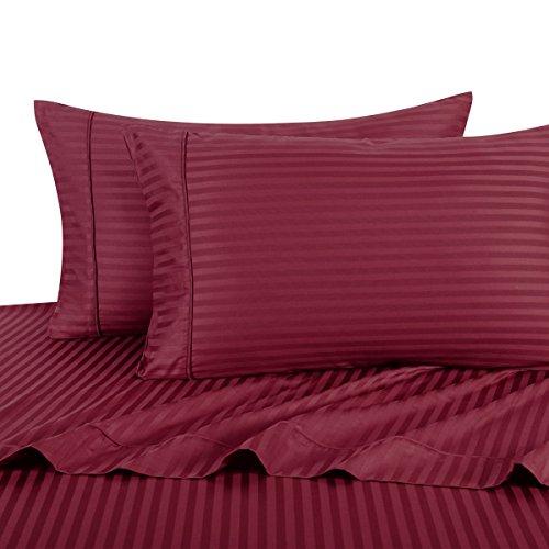 - Exquisitely Lavish Sateen Stripe Weave Bedding by Pure Linens, 300 Thread Count 100-Percent Plush Cotton, 4 Piece Queen Size Deep Pocket Hemmed Sheet Set, Burgundy