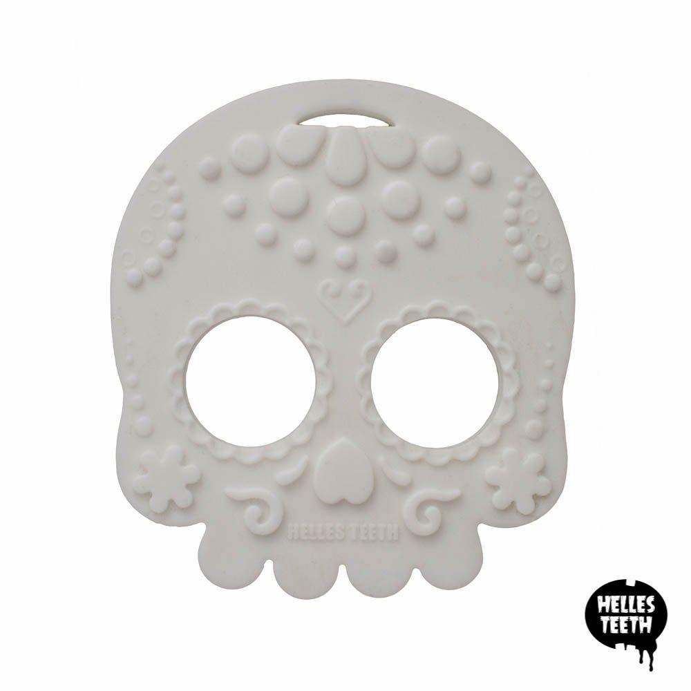 White Sugar Skull Silicone Baby Teething Toy Helles Teeth