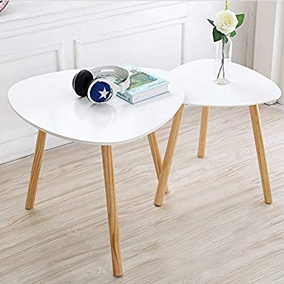 Toys Studio Nesting Tables Triangle Comfort Nesting Coffee Table Modern Leisure End Table for Home and Office (Set of 2) -  - living-room-furniture, living-room, coffee-tables - 51sgG9Iks L. SS400  -