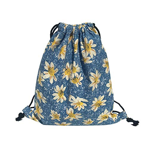 iSuperb Canvas Drawstring Backpack Bag Sack Bag Stylish Lightweight Cute for Excursion Outdoor 16.1x13.4 inches (Daisy)