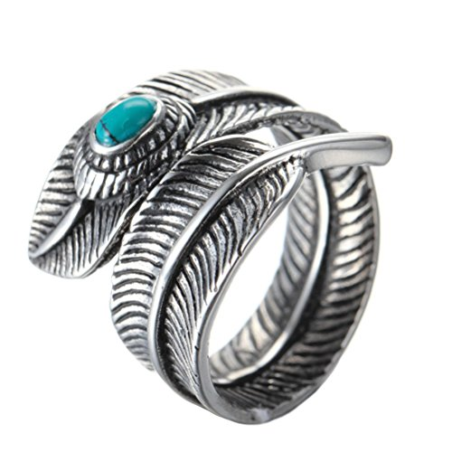 Oakky Men's Stainless Steel Gemstone Vintage Feather Wrap Ring Turquoise Inlay Size 10 (Wrap Feather Ring)