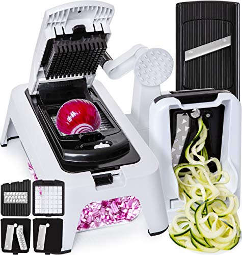 Kitchen Mandoline Collection - [3in1] Spiralizer Vegetable Slicer Adjustable Mandoline Slicer Vegetable Chopper - Onion Chopper Food Chopper Vegetable Spiralizer Vegetable Cutter with Glass Container - Zucchini Spaghetti Maker