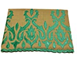 Pashmina Stole, Brown with Teal Velvet