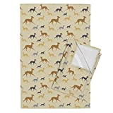 Roostery Lobitos Tea Towels Italian Greyhound Beige by Lobitos Set of 2 Linen Cotton Tea Towels