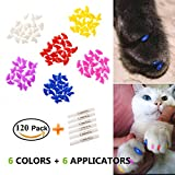 EXPAWLORER Cat Nail Caps - 120 Pcs Colorful Pet Plastic Nail Caps with 6 Glues - 6 Applicators and 1 Instruction for Claws Control - Protect Paws