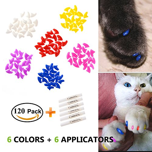 EXPAWLORER Cat Nail Caps, 120 Pcs Colorful Pet Plastic Nail Caps with 6 Glues, 6 Applicators and 1 Instruction for Claws Control, Protect Paws