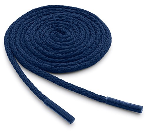 OrthoStep Waxed Very Thin Dress Round Classic Blue 30 inch Shoelaces 2 Pair Pack
