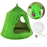 OrangeA Hanging Tree Tent kids hanging tent Green Original Hanging Backyard Tree House 45 diam. x 54 H hammock tent outdoor tents with LED Lights for babies