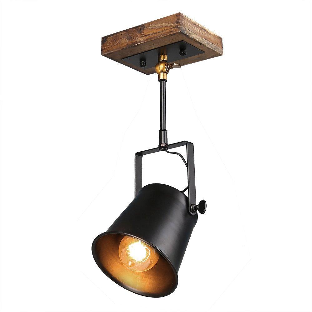 LNC Adjustable Track Lighting, Industrial Wood Canopy Track Light Pendant